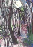 Light in the Trees 1 by Donna Southern Art, Painting, Mixed Media on paper